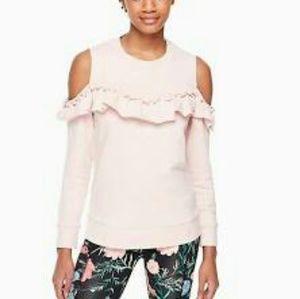 NWT Kate Spade Cold Shoulder Ruffle Sweatshirt
